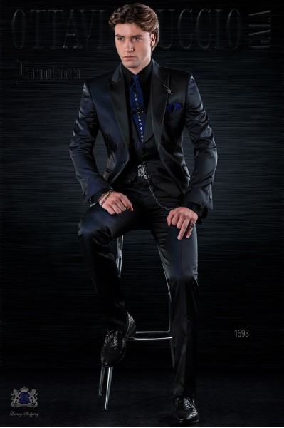 Traje de moda italiano a medida negro microdiseño azul