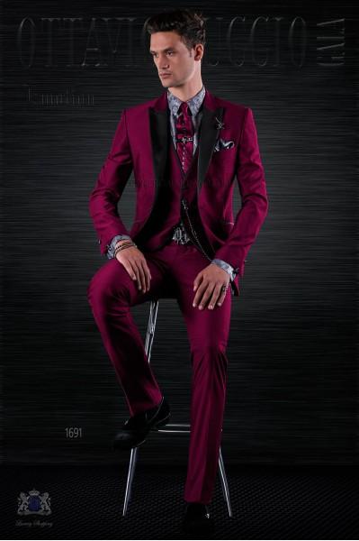 Fashion burgundy italian bespoke suit 3 pieces