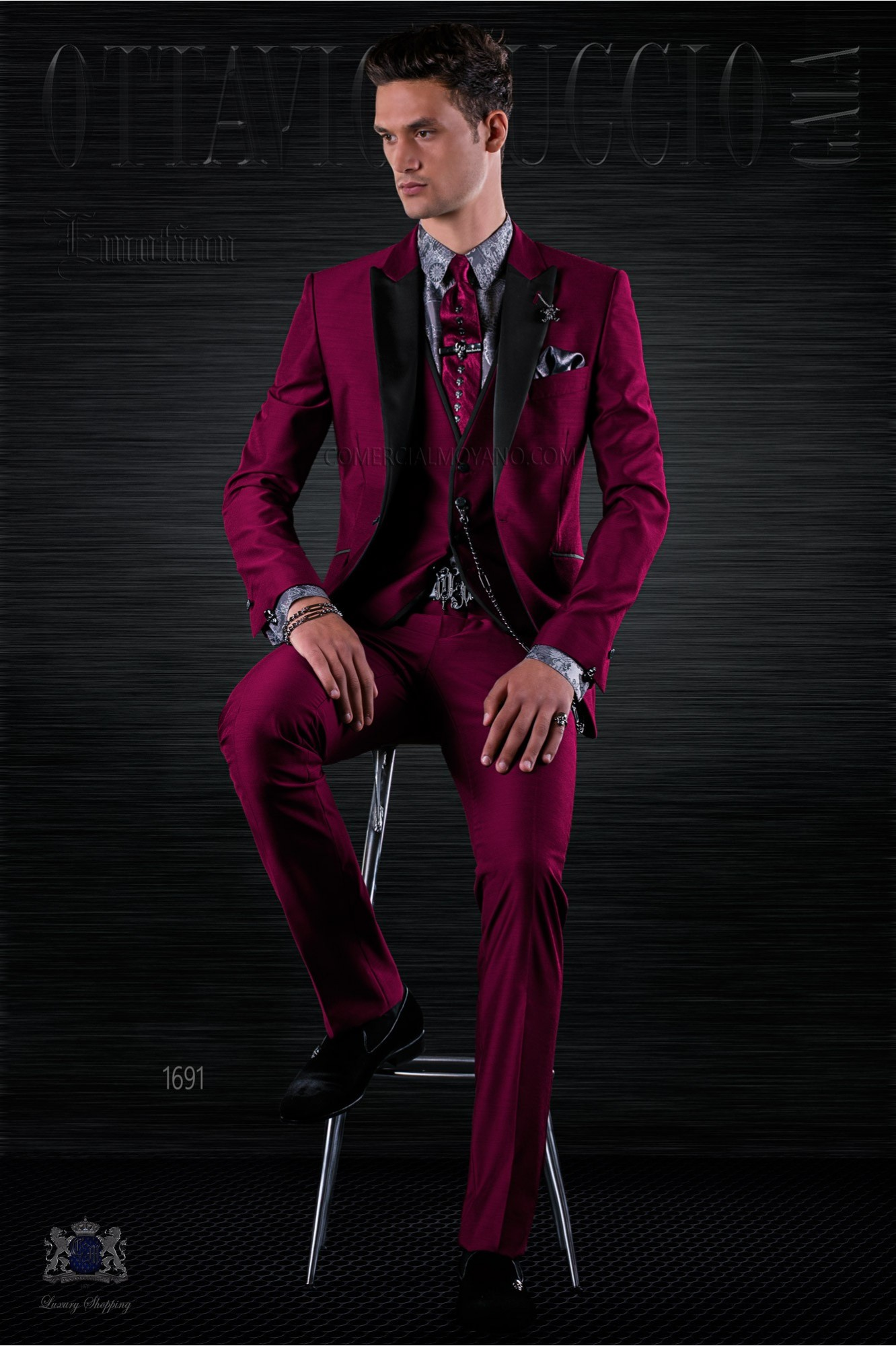 Fashion burgundy italian bespoke suit 3 pieces