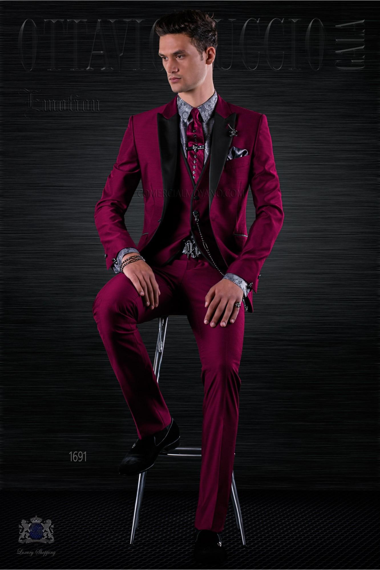 Fashion burgundy italian bespoke suit 3 pieces model 1691 Ottavio Nuccio Gala
