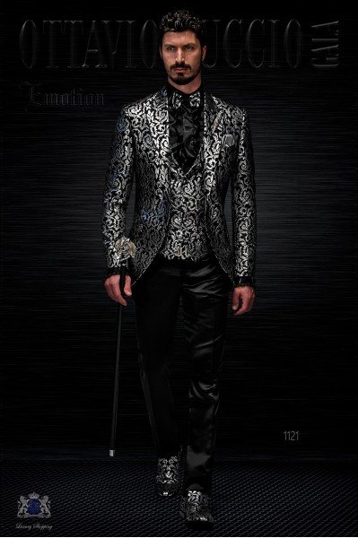 Chaqueta de moda brocada negro y plata
