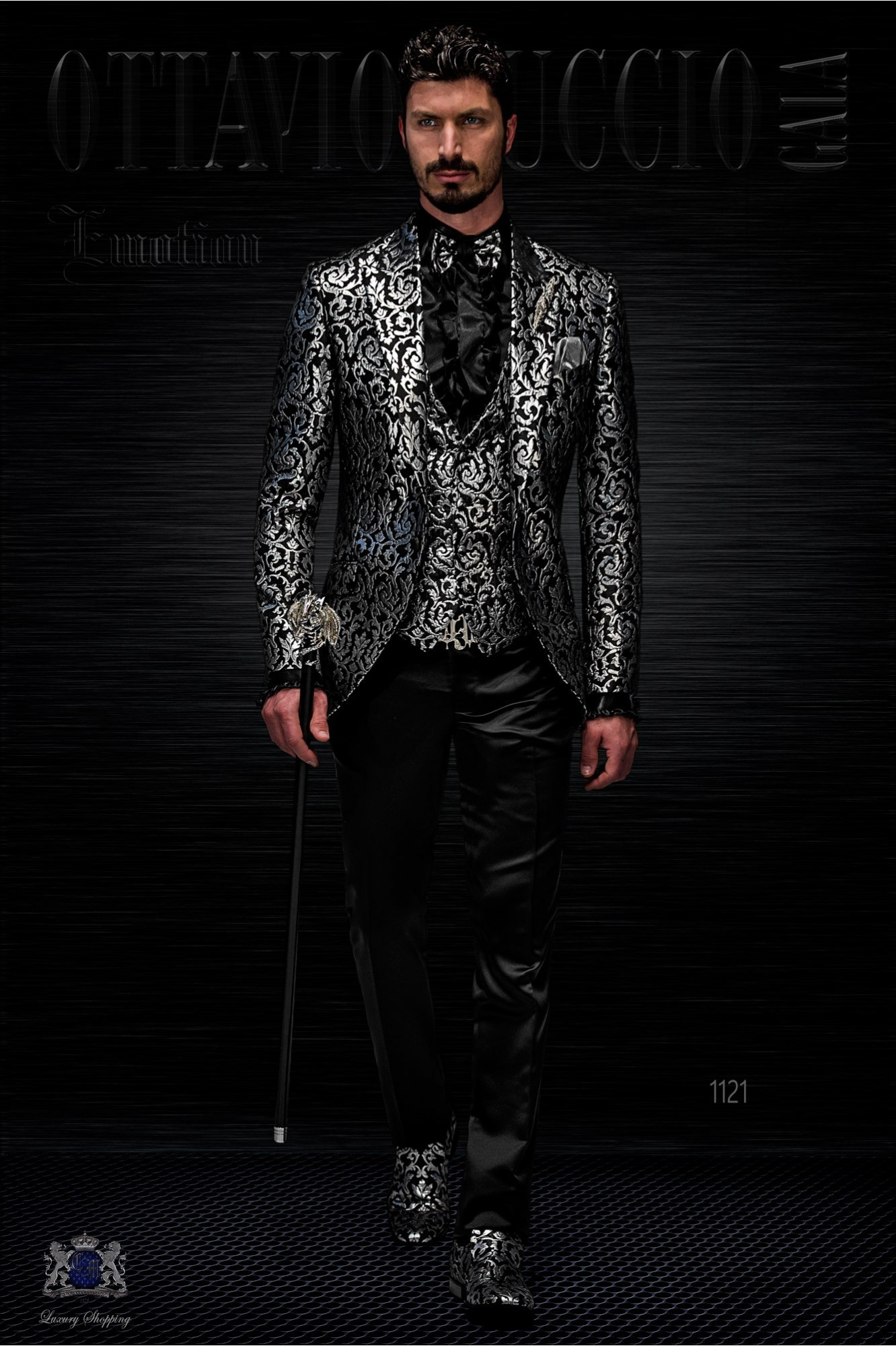 Fashion jacket gothic brocade black and silver