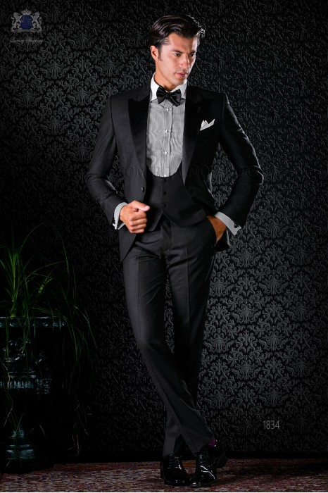 Italian bespoke pure wool over check black tuxedo