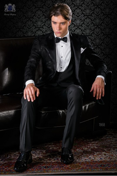 Italian bespoke black wool silk jacquard tuxedo combined with black trousers