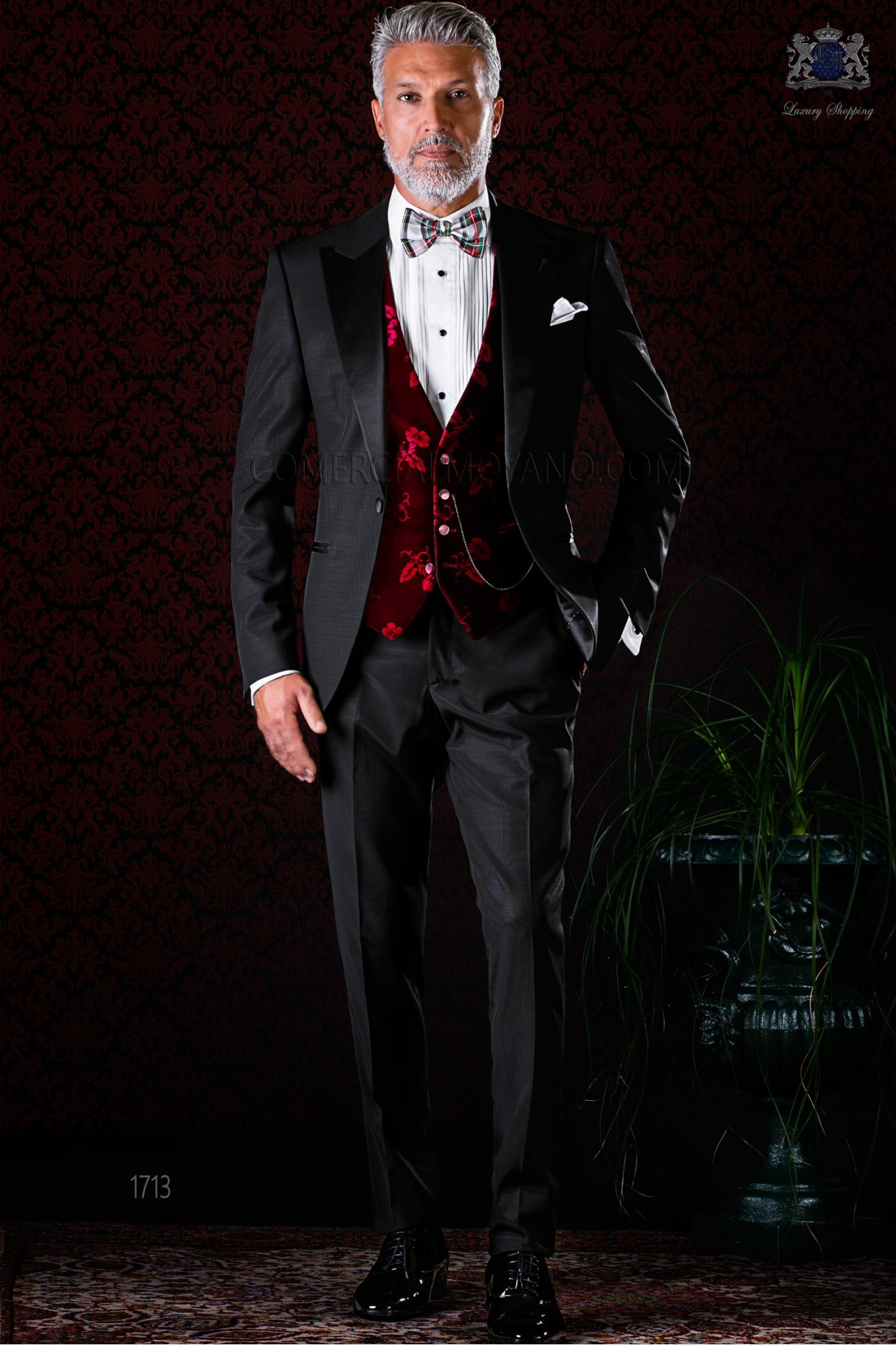 Italian bespoke black tuxedo with peak satin lapels and 1 button. Wool mix fabric model 1713 Ottavio Nuccio Gala