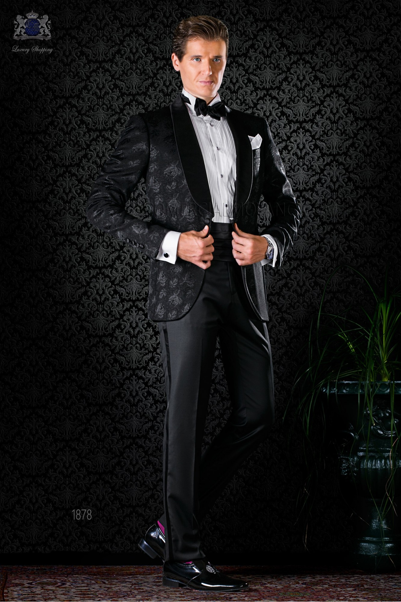 4b762175067 View larger. Italian bespoke wool silk black jacquard tuxedo ...