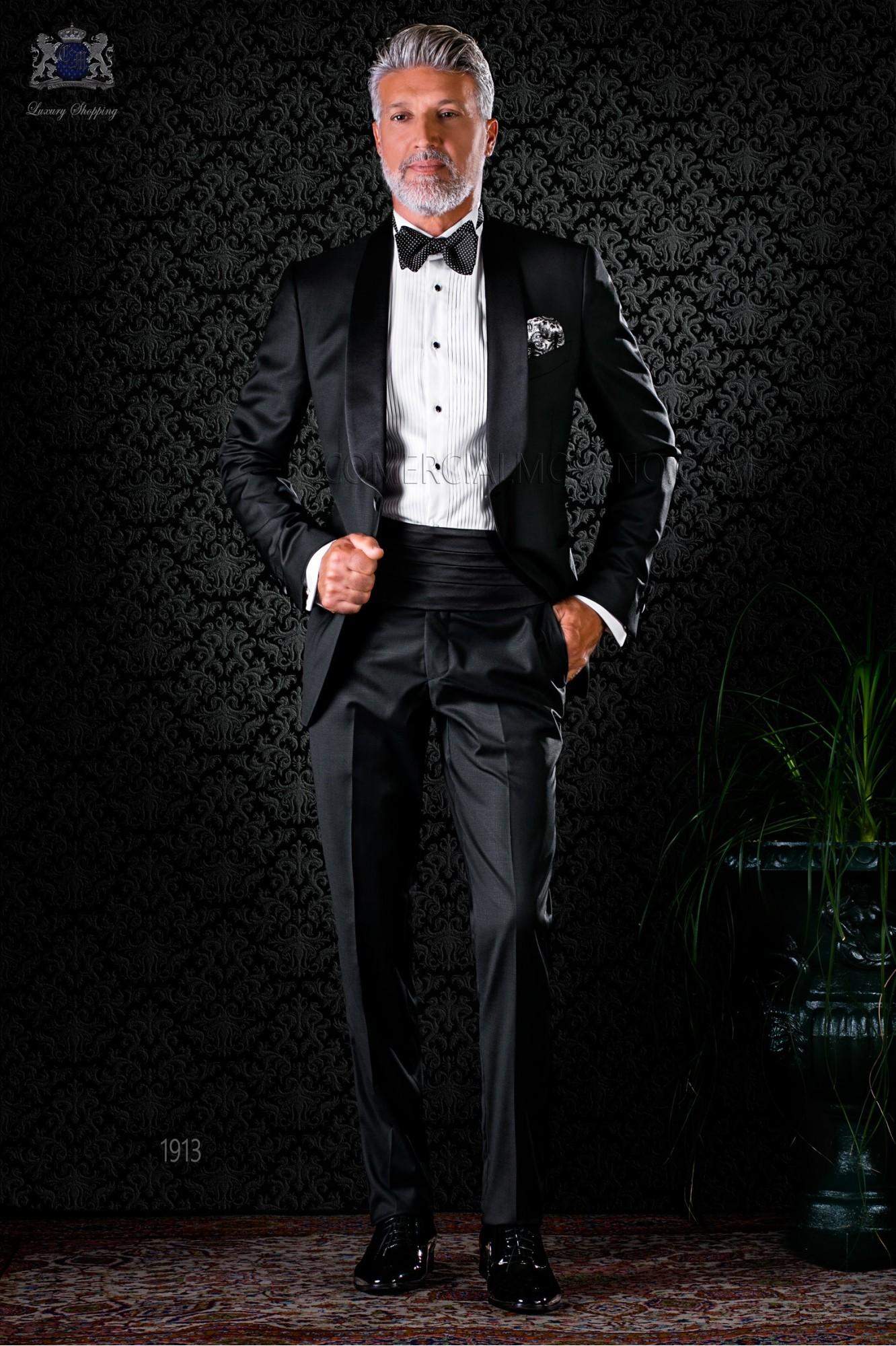 Esmoquin italiano negro con solapa chal en pura lana