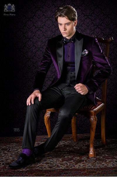 Italian bespoke purple velvet tuxedo combined with a black trousers