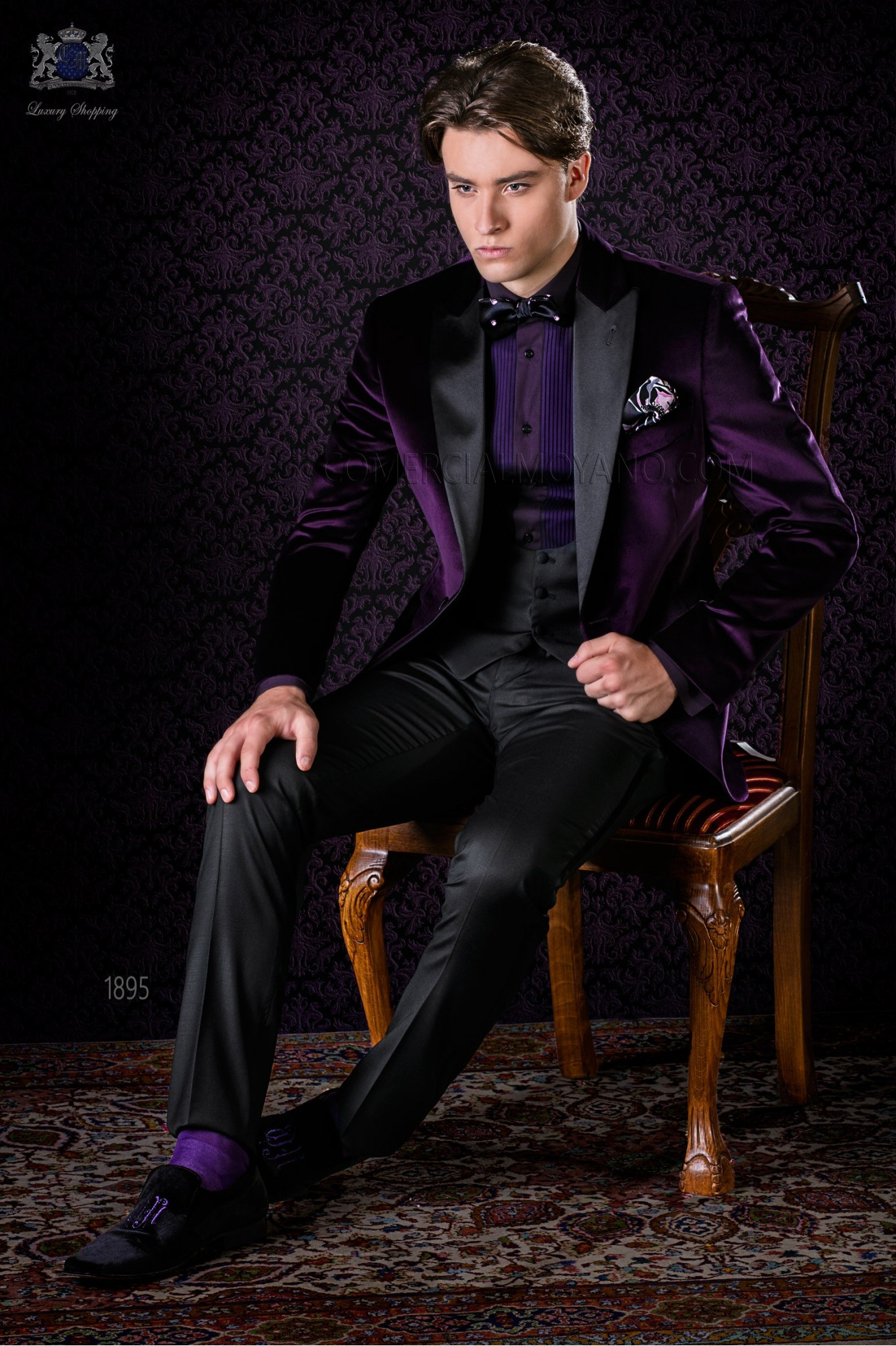 Italian bespoke purple velvet tuxedo combined with a black trousers