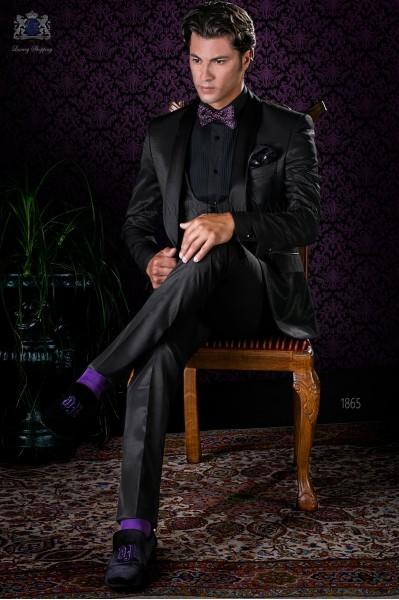 Esmoquin italiano negro con solapa chal y 1 botón de raso en tejido dama