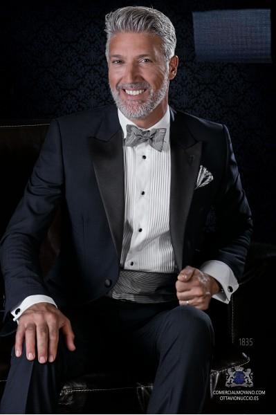 Italian bespoke pure wool over check blue tuxedo