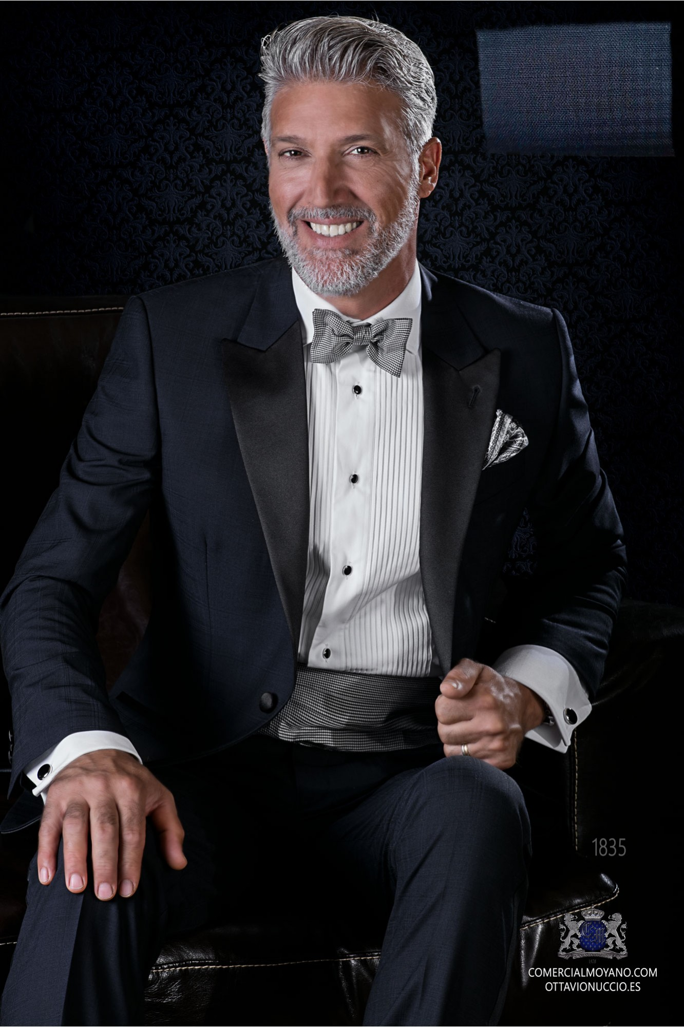 Italian bespoke pure wool over check blue tuxedo model 1835 Ottavio Nuccio Gala