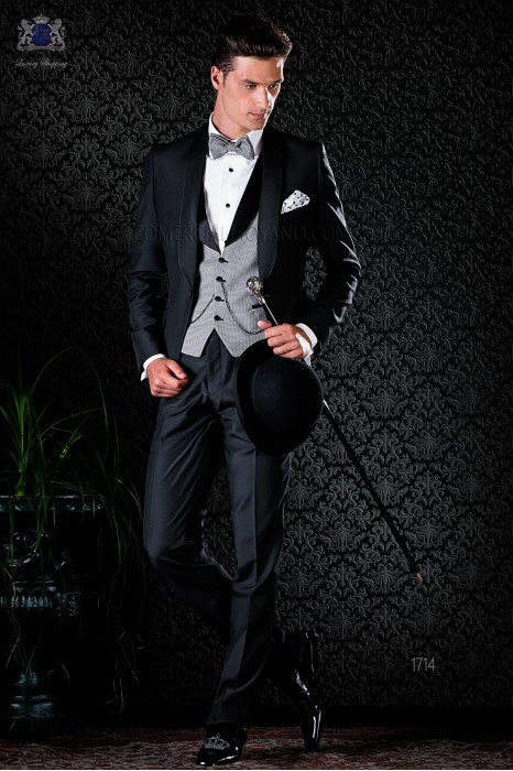 Italian bespoke blue tuxedo with peak satin lapels and 1 button. Wool mix fabric