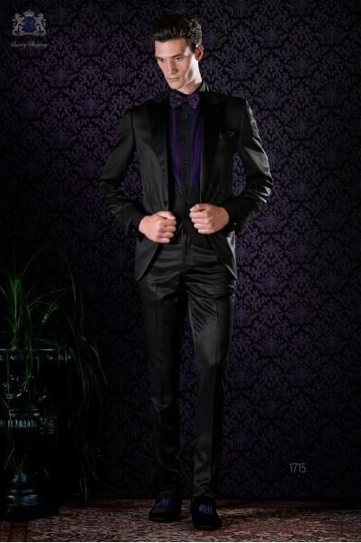 Italian bespoke black tuxedo slim fit with peak satin lapels and 1 button