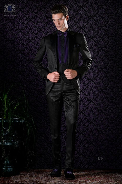 Italian bespoke black tuxedo slim fit with peak satin lapels and 1 button