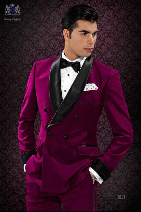 Italian bespoke burgundy double breasted tuxedo