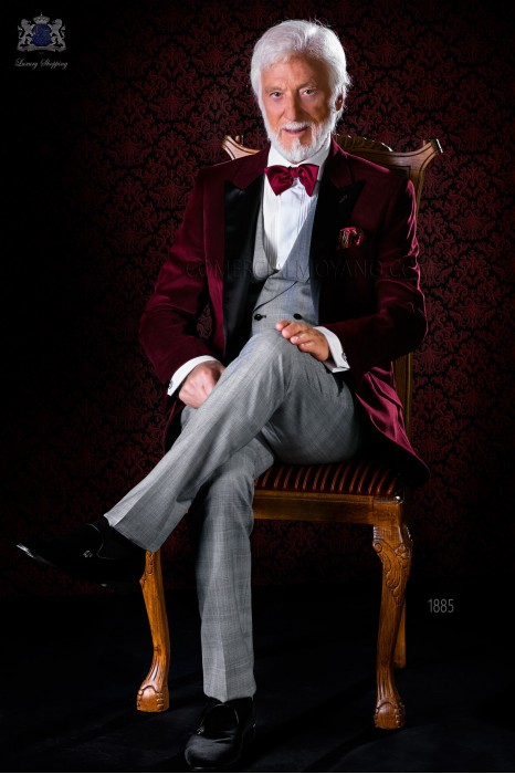 Italian bespoke burgundy velvet tuxedo combined with check trousers