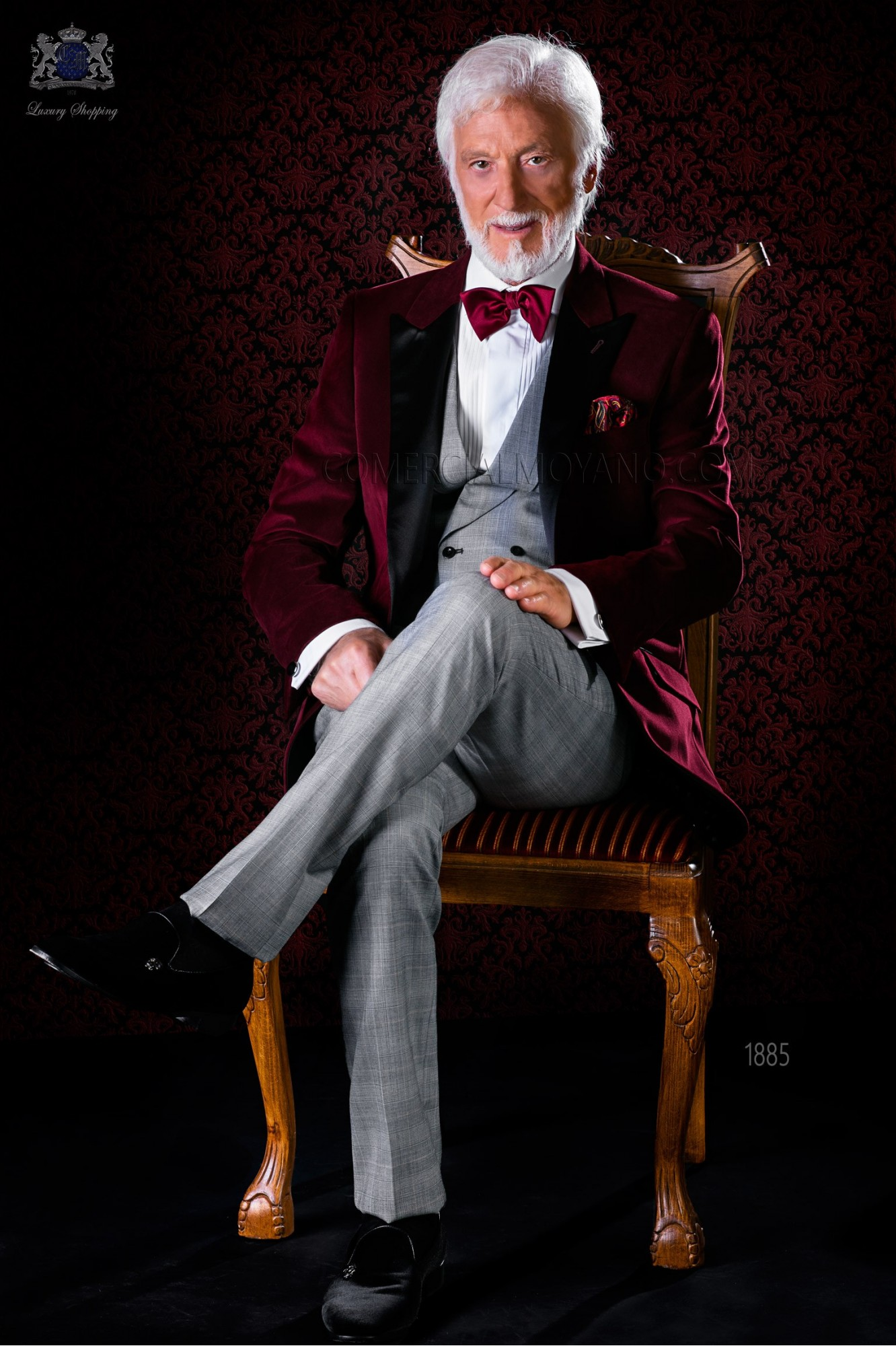 Italian bespoke burgundy velvet tuxedo combined with check trousers model 1885 Ottavio Nuccio Gala