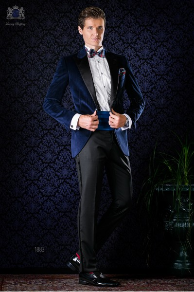 Italian bespoke blue velvet tuxedo combined with black trousers