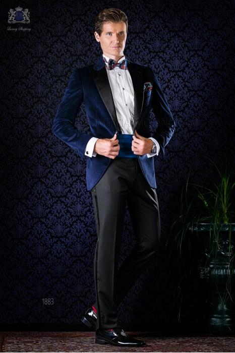Italian bespoke blue velvet tuxedo combined with black trousers
