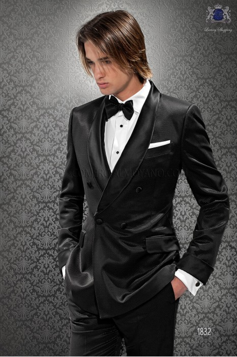 Italian bespoke black check double breasted tuxedo
