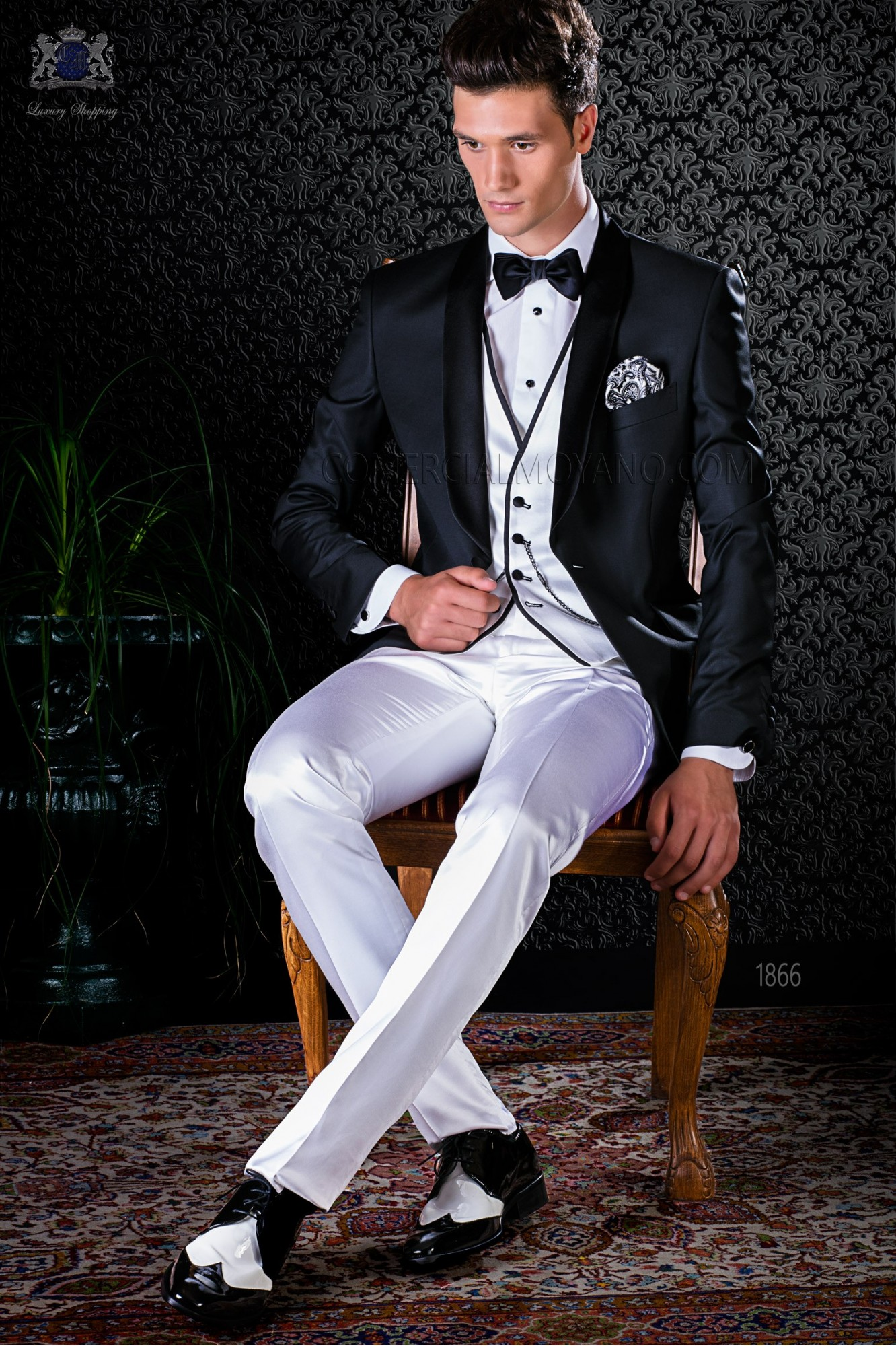 Bespoke black wool tuxedo combined with a white satin trousers model 1866 Ottavio Nuccio Gala