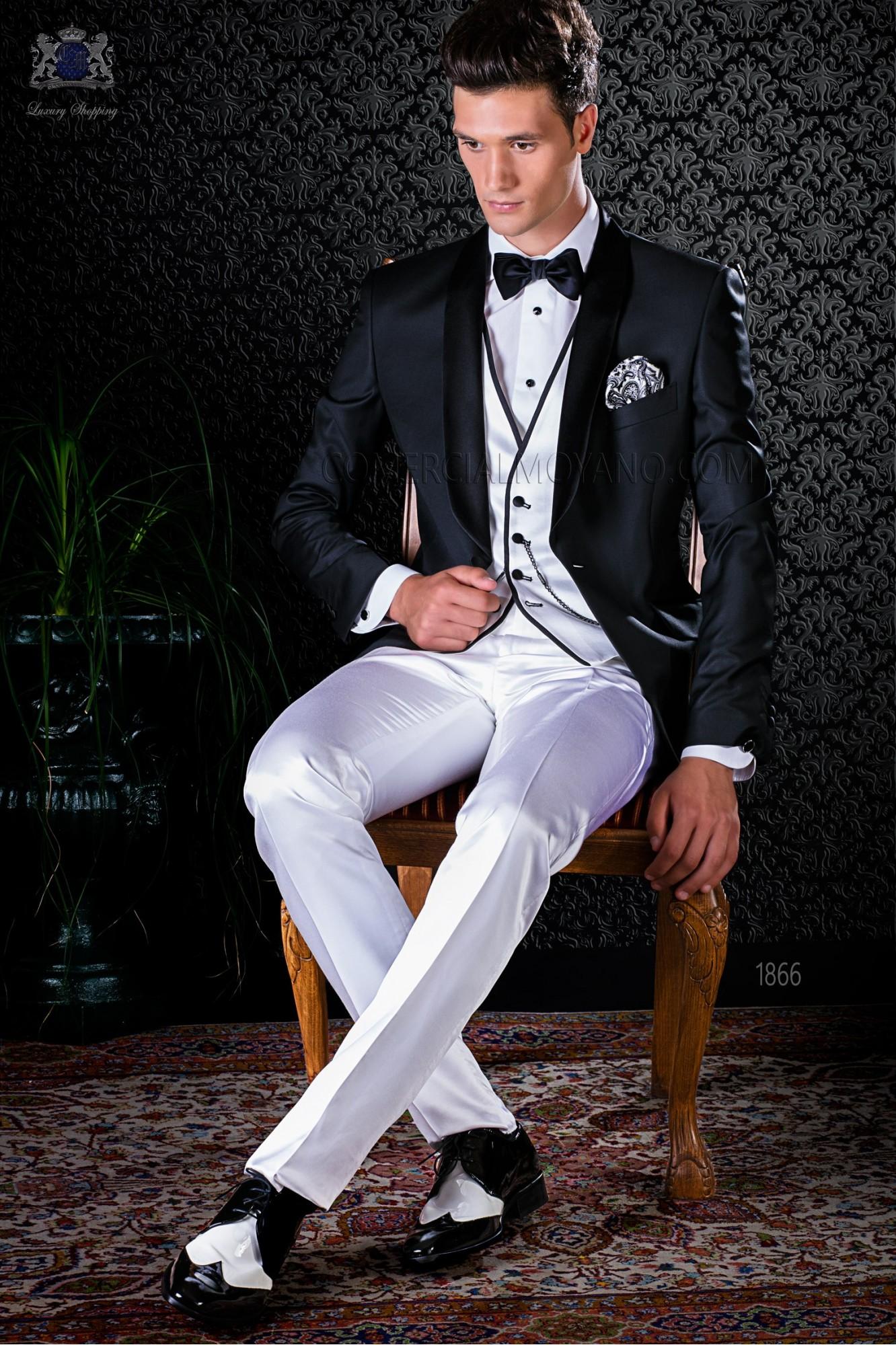 Esmoquin negro italiano con solapa chal combinado con blanco