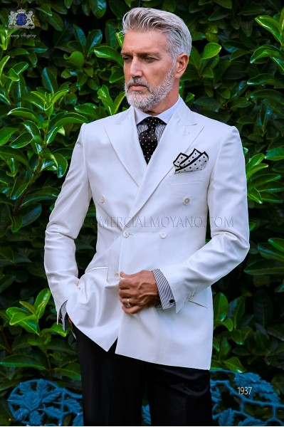 Bespoke white shantung double breasted jacket combined with a black trousers