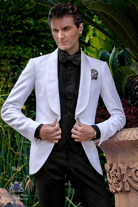 Bespoke white dinner jacket combined with a black trousers