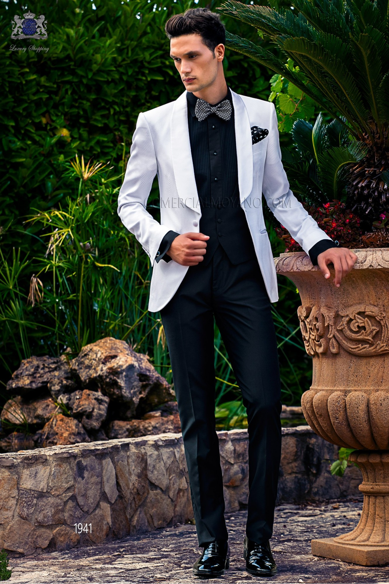 Bespoke white check dinner jacket combined with a black trousers model 1941 Ottavio Nuccio Gala