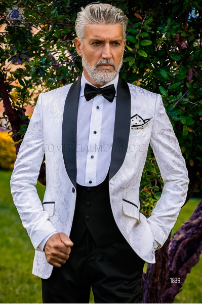 Bespoke black and white silk dinner jacket combined with a black trousers