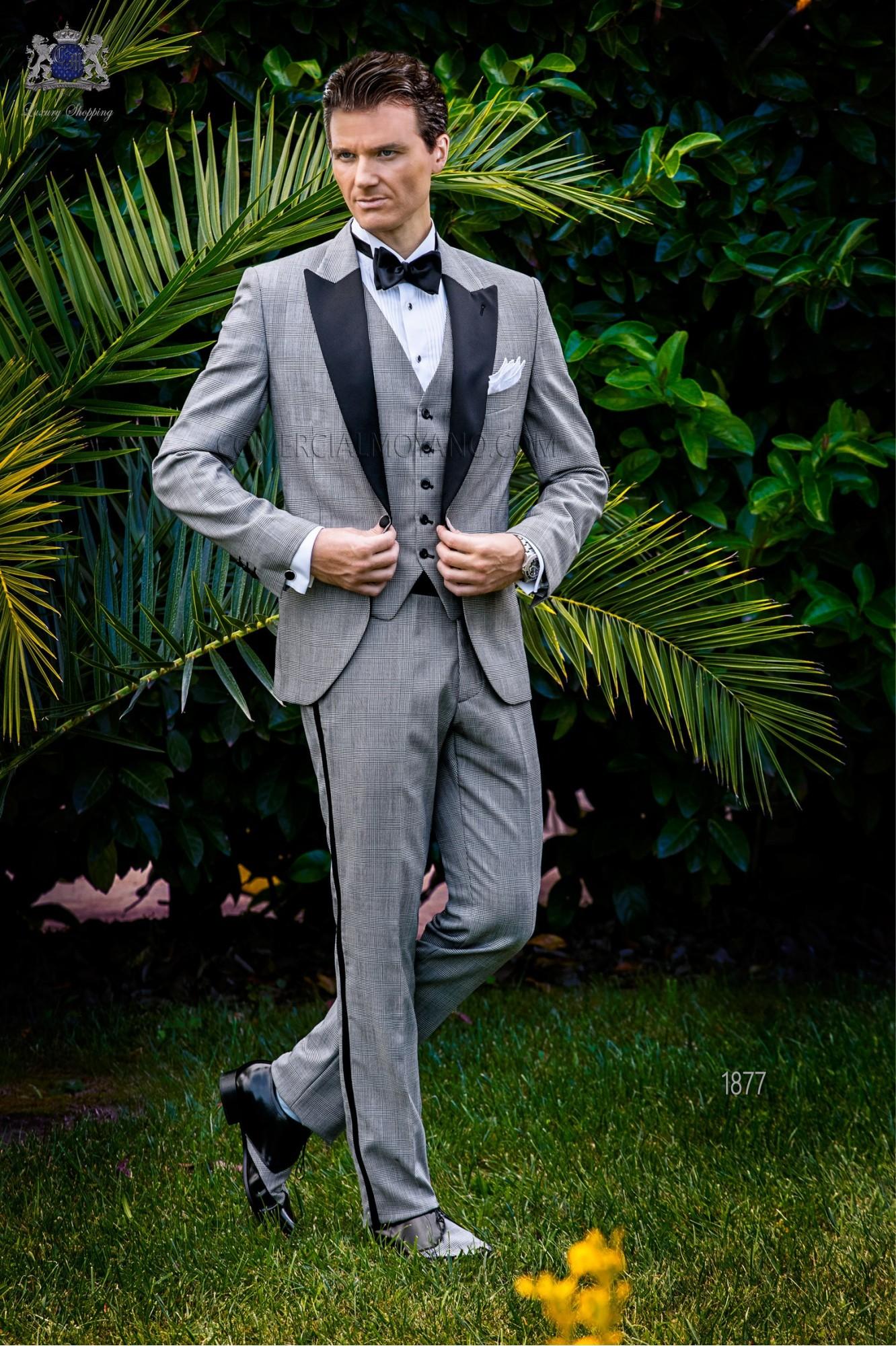 "Italian bespoke tuxedo grey ""Prince of Wales"" model 1877 Ottavio Nuccio Gala"
