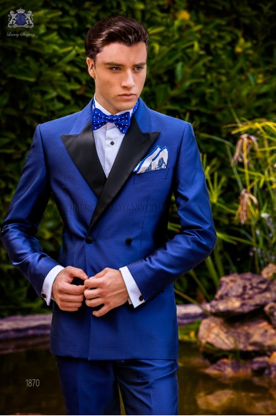 Italian bespoke double breasted royal blue shantung tuxedo