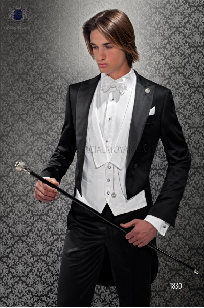 Italian black bespoke wool mix tailcoat with peak satin lapels