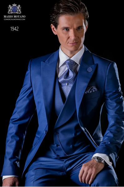 Italian bespoke frock coat royal blue suit