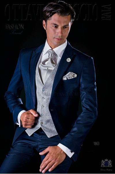 Italian bespoke blue suit with satin contrast