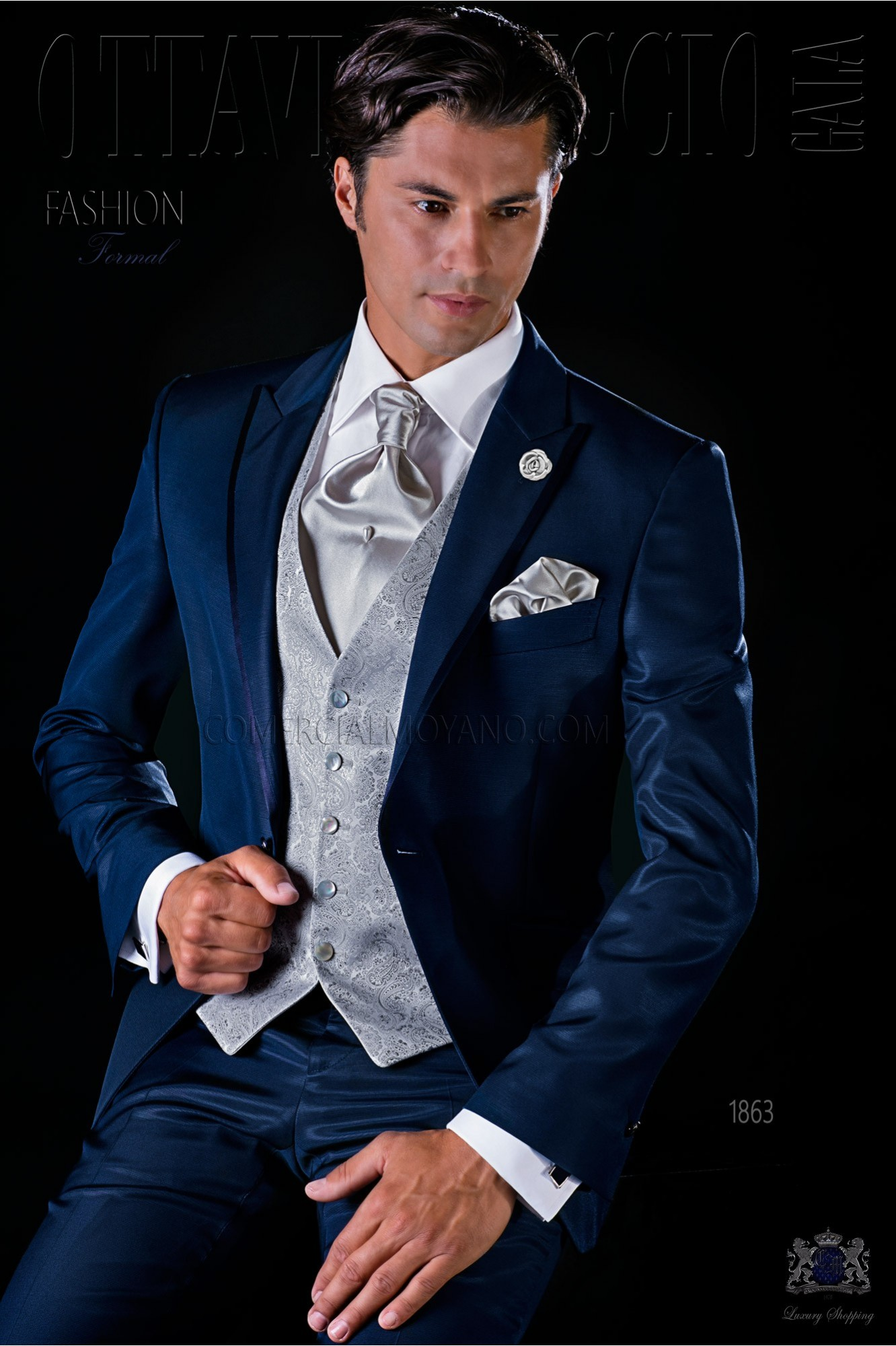 Italian bespoke blue suit with satin contrast model 1863 Ottavio Nuccio Gala