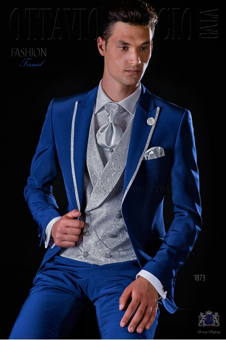 Italian bespoke royal blue suit with pearl grey contrast