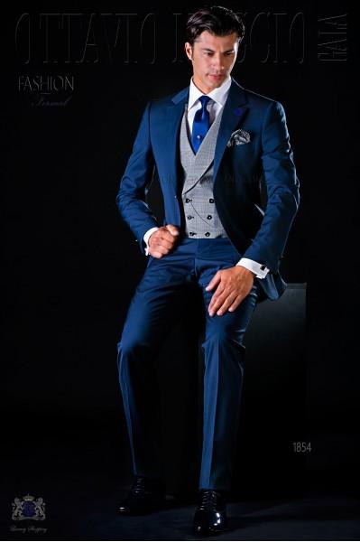 Traje de novio moderno azul con 2 botones