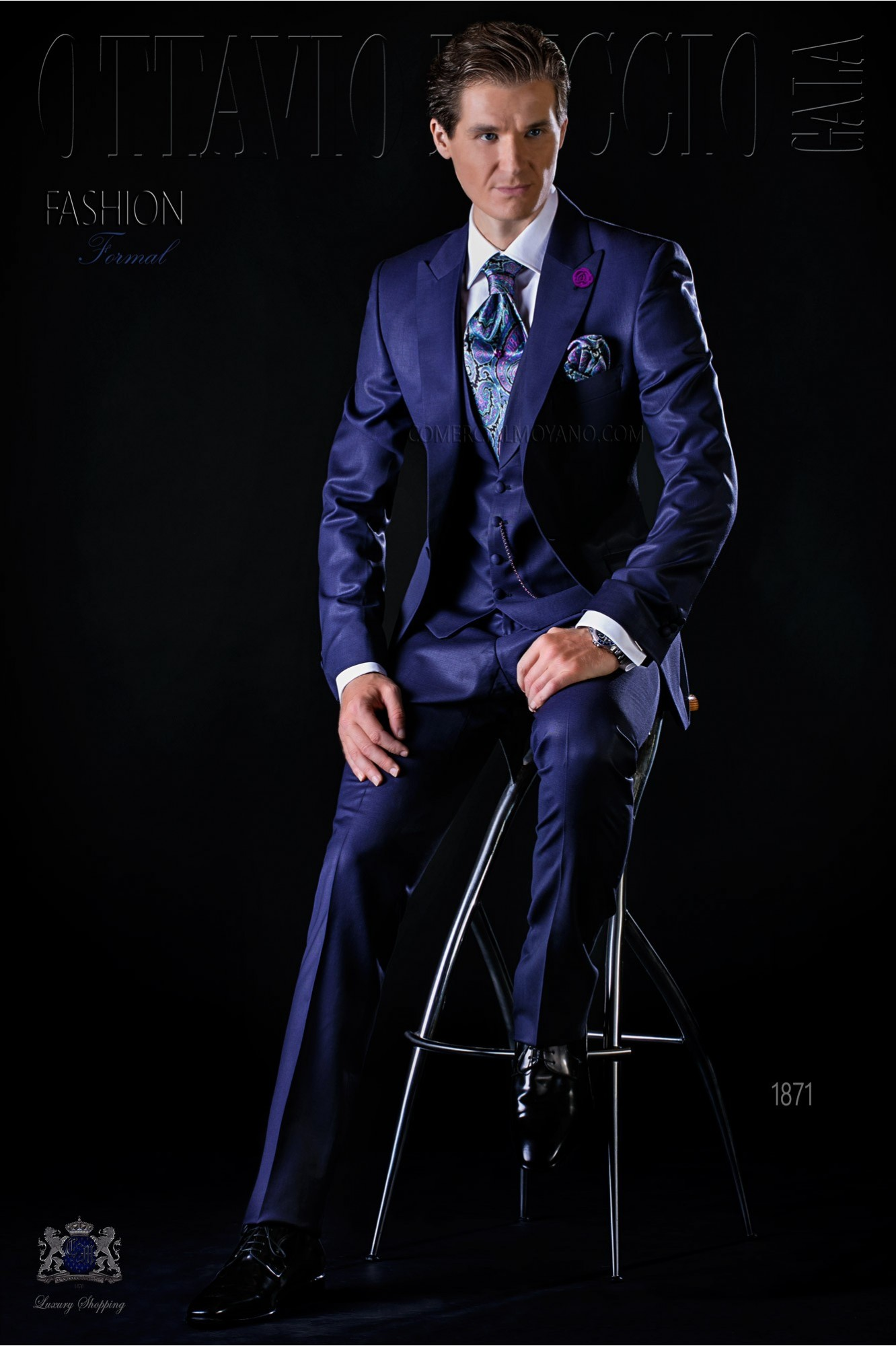 Traje de novio italiano azul en pura lana tasmania