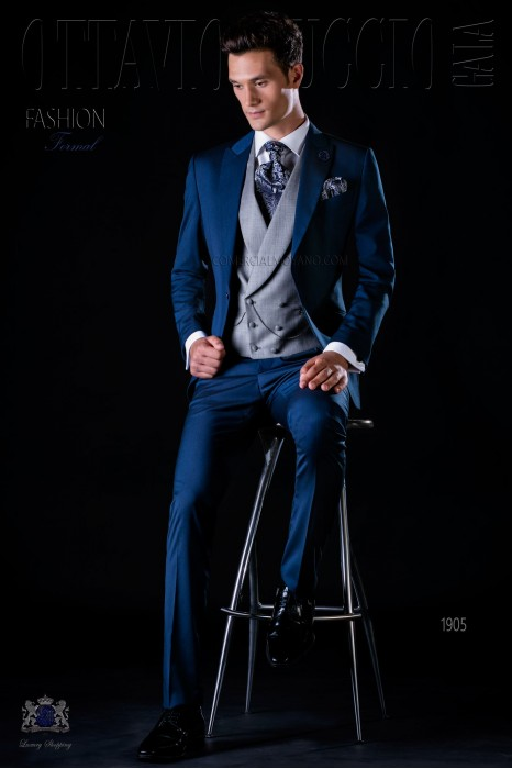 Italian bespoke blue suit with peak lapel