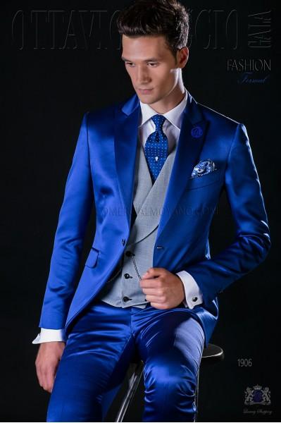 Italian bespoke electric blue satin suit