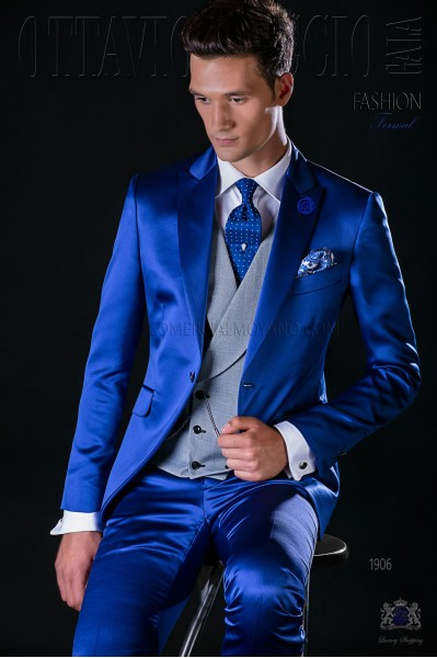 Italian bespoke electric blue satin suit