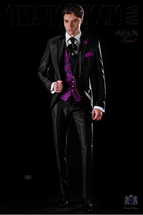 Italian bespoke black slim wool mix suit