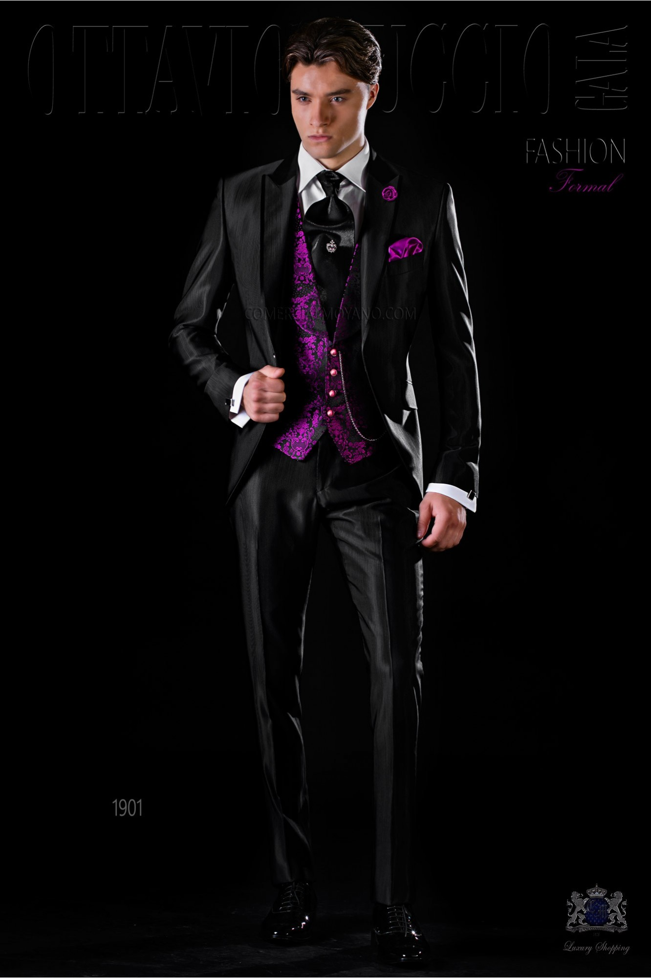 Italian bespoke black slim wool mix suit model 1901 Ottavio Nuccio Gala