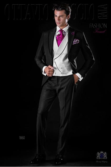 Italian bespoke frock coat black wool mix suit
