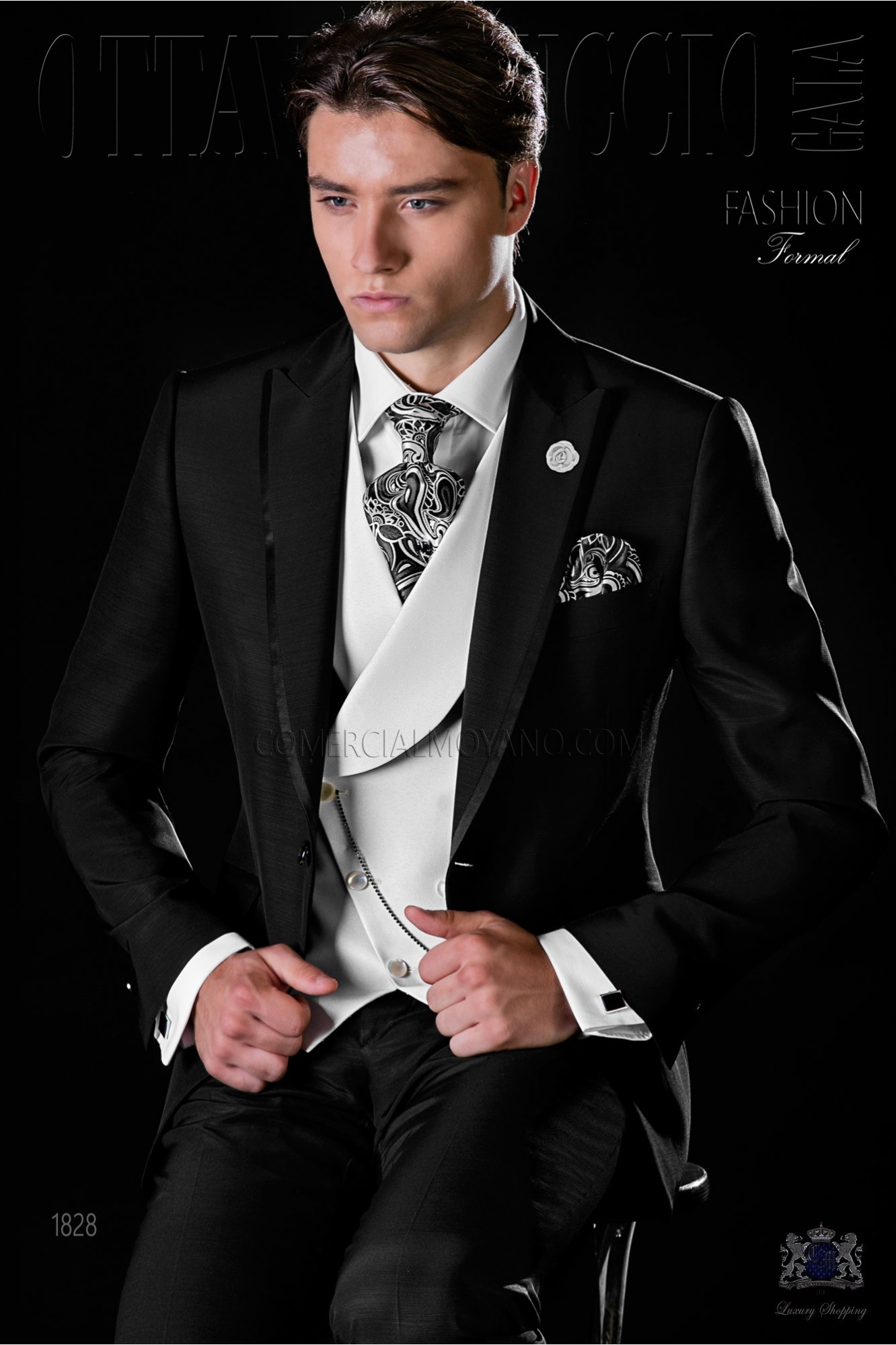 Italian bespoke black slim suit with satin contrast
