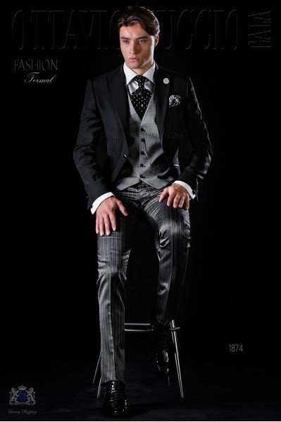 Bespoke black jacket with grey trousers