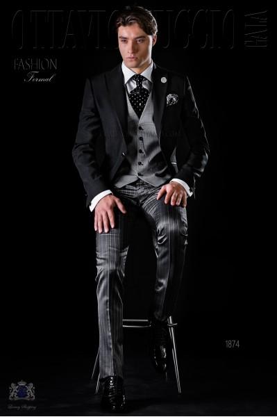 Traje de novio chaqueta negra con pantalón media etiqueta
