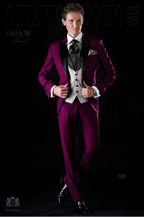 Italian bespoke burgundy suit with satin lapels